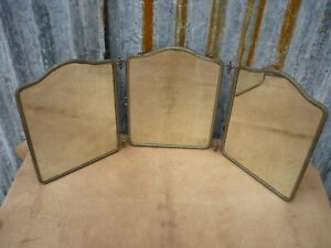 Antique French Deco Tri Fold Tryptich Mirror Vanity Travel Barbers Bathroom