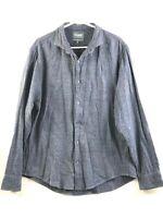 Bonobos Button Up Shirt Mens XL Blue Long Sleeve Slim Fit Cotton Blend Stretch