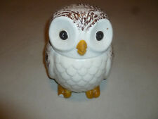 VINTAGE OWL CERAMIC COOKIE JAR RETRO WISE OLD BIRD NAO DOJ15 WHITE BROWN USA >>>
