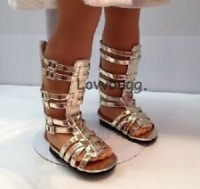 Tall Gold Gladiator Sandals Shoes for 18 inch Doll Clothes American Girl