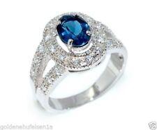 Ringe mit Edelsteinen im Cocktail-Stil aus Sterlingsilber echten Blautopas