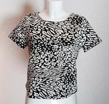 GEORGE textured Black White animal print cap sleeve high neck Crop Top Blouse 12
