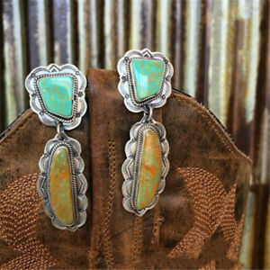 Vintage Silver Natural Zircon Turquoise Stud Dangled Earrings Wedding Jewelry
