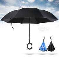 C-Handle Reverse Umbrella Double Layer Upside Down Inverted SUN//RAIN Windproof L
