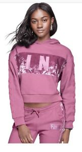 Victoria's Secret PINK VELVET STRIPE CROPPED PULLOVER VS LARGE Pink OR BLACK