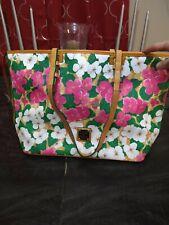 Authentic Dooney & Bourke Pansy Floral Leisure Shopper Tote Bag Purse Flowers