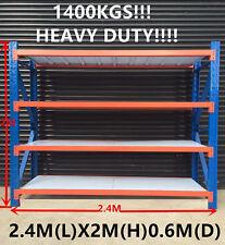 2.4Mx2M!!! 1400KG!!!!!! Garage Warehouse Steel Storage Shelving Shelves Racking