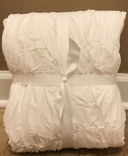NEW Pottery Barn Teen Kelly Slater Organic Tide Ruched TWIN Duvet WHITE