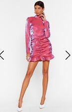 NastyGal Shimmer Satin Pink Iridescent Dress size 4