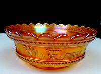 "NORTHWOOD CARNIVAL GLASS MARIGOLD PEACOCK AT THE FOUNTAIN 5"" BERRY BOWL 1908-20"