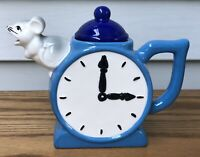 Vintage Collectible Whimsical TEATIME Clock & Mouse Tea Pot by Artist Bob Hersey