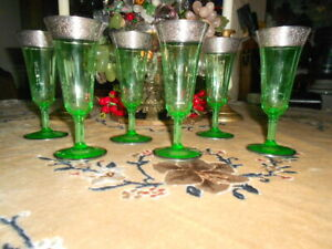 Morgantown Platinum Border Green Glass Champagne Flutes – set of 6