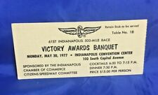 Indianapolis Indy 500 1977 VICTORY BANQUET TICKET A. J. Foyt Wins #4