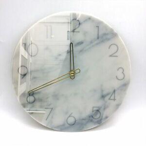 White Marble Wall Clock Nordic Art Quartz Sweep Movement Home Bedroom Decoration