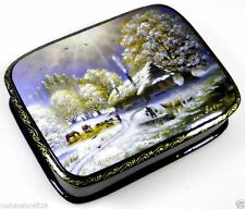 """Russischer Winter"" Russische Lackmalerei Lackdose Russian lacquer box Fedoskino"