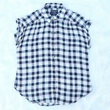 Abercrombie & Fitch Women's XS Viscose Plaid Flannel Sleeveless Button Up Shirt