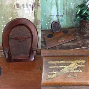 OLD Vintage 1900/1920s Period Wooden Oak AIRFORCE RAF BI PLANE Desk Tidy