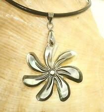 "30Mm Black-Lip Mother Of Pearl Hawaiian Tiare Gardenia 18Kwgp Necklace 18"" #2"