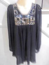 GEORGE ERMIS LABEL SIZE XS 8 10  BLACK GOLD BLACK SEQUIN BEADING LINED DRESS