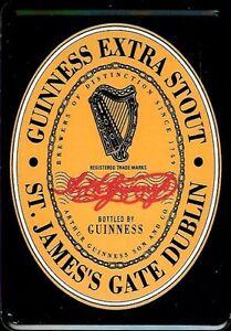 Guinness Label Logo Blechpostkarte Blechschild Metal Tin Card Sign 10 x 14 cm