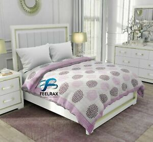 Indian Block Polka Dot Print Coverlet King Light Wight Bedspread Cotton Quilt