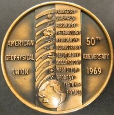 American Geophysical Union 50th Anniversary brass token! ! 36 mm, 20.2 grams!