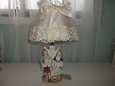 Vintage Victorian Couple Man & Woman Figurine Japan Table Lamp w/Shade #2