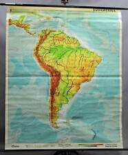 old pull-down geographical wall chart, map, South America, physical