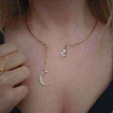 Fashion Jewellery Glass Rhinestone Moon With Crystal Torques Necklace Gift Alloy