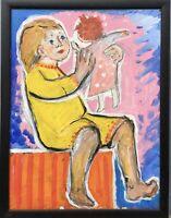 Modern Art Mädchen mit Puppe Kind Portrait Expressiv auf Gipskarton Anonym