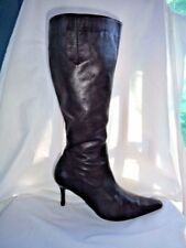 "Sz 8.5 almost knee length leather 3""heel boots, VGC, soft+conditioned+new heels"