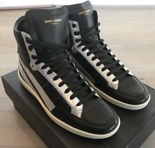 1,000$ Saint Laurent Black Leather High Tops Sneakers size US 10, Made in Italy