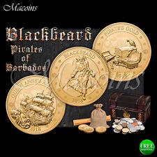 PIRATES OF BARBADOS BLACKBEARD 2018 BARBADOS 3 GOLD PLATED COIN SET