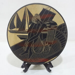 """Hand Line Carved Painted ⌀12""""Wood Plate wall decor: Whisper between Sea & Wind"""