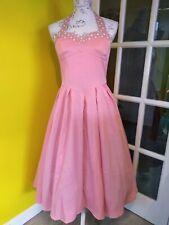 Lindy Bop Carola Pink Halter Neck Swing Dress Size 14