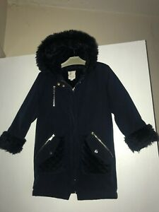 River Island Girls Gorgeous Navy Fur Lined Hooded Parker Coat 4-5 Years Ex Cond
