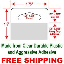 """1.75"""" x 1.5"""" Durable ClearPlasticHang Tabs with Heavy Duty Adhesive (60 Tabs)"""