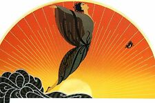 Erte 1987 SUNRISE MORNING BUTTERFLY Wall Art Deco Matted Print Ready to Frame