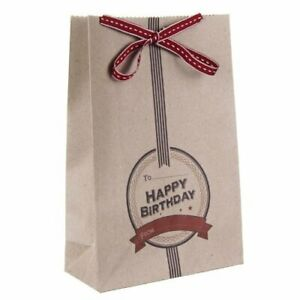 East of India Recycled Gift Bags Bag Vintage Chic with Ribbon Tie Wrap Birthday