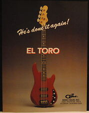 1983 G+L EL Toro electric bass guitar designed by Leo Fender print ad