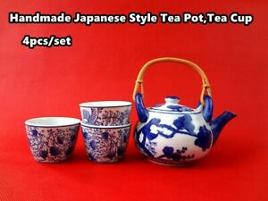Handmade Japanese Style Porcelain Tea Pot with Rattan Handle+ 3 Tea Cups  NEW