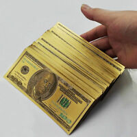 Hot $100 dollar 10pcs 1:1 24k Gold Foil Golden USD Paper Money Banknotes Crafts