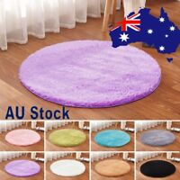 Round Fluffy Rug Anti-Skid Shaggy Dining Room Home Bedroom Carpet Floor Mat 40CM