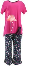 Cuddl Duds Cotton Comfort Getaway PJ Set Berry Flamingos XL NEW A347550