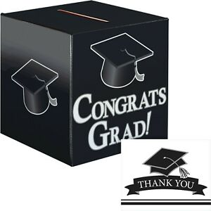 Black and White Graduation Card Box and Thank You Card Kit
