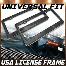 2x JDM Gloss Black Carbon Fiber License Plate Frame Cover Front & Rear US Size