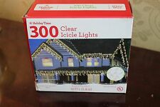 NEW 300 Clear Icicle Lights White Wire Indoor/Outdoor Lighted Length 18'
