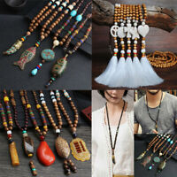 Handmade Nepal Buddhist Mala Bead Pendant Necklace Ethnic Horn Fish Long Jewelry