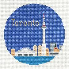 """Silver Needle TORONTO, CANADA handpainted 4.25"""" Rd. Needlepoint Canvas Ornament"""