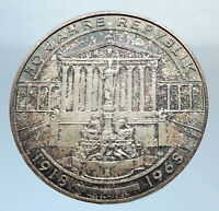 1968 AUSTRIA Vienna Parliament Antique Silver 50 Schilling Austrian Coin i72038